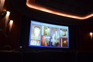 In ihrem Vortrag ging Anne Batisweiler auf die Planung von Lichtspielhäusern ein, die innenarchitektonische und lichtplanerische Umgestaltung des Gloria Palast mit neuer LED-Lichttechnik und Lichtsteuerung.